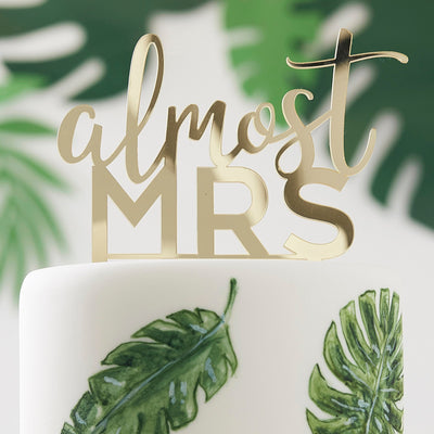 Almost Mrs Gold Acrylic Hen Party Cake Topper - Cake Topper for Bridal Shower