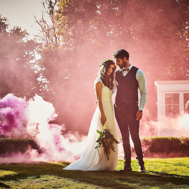 Pink Wedding Smoke Bomb for Photographs - Coloured Smoke Cannon for Weddings