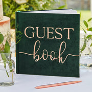 Green Velvet Foiled Wedding Guest Book -  Wedding Guest Book
