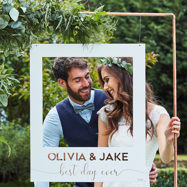 White And Rose Gold Botanical Personalised Wedding Photo Booth Frame