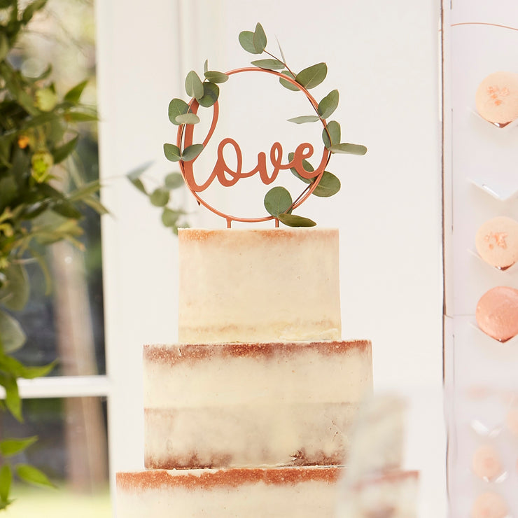 Love Script Rose Gold Wedding Cake Topper