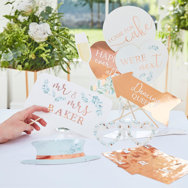 Rose Gold Scripted Just Married Banner - Wedding Decorations