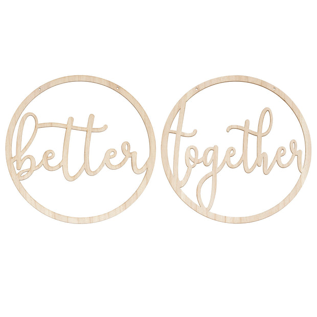Better Together Wedding Chair Signs Wooden Hoops - Chair Signs