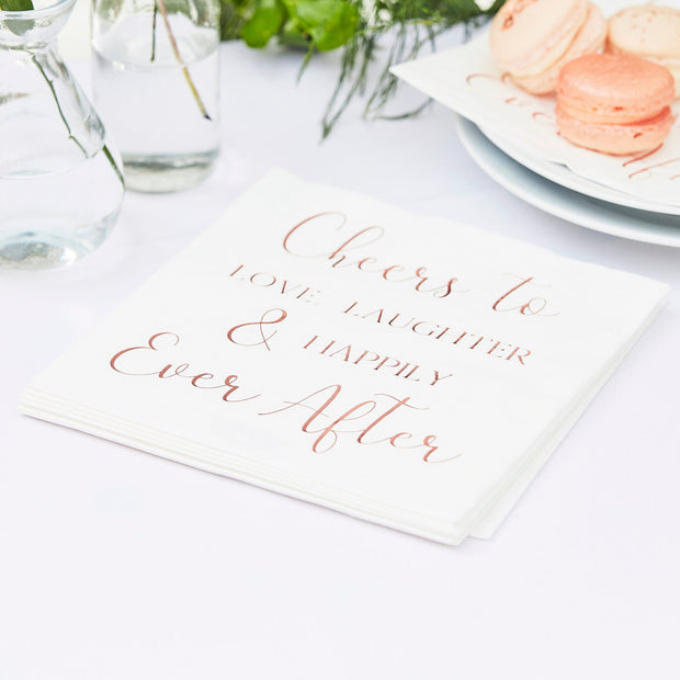 Happily Ever After Paper Wedding Napkins - Rose Gold Wedding Napkins