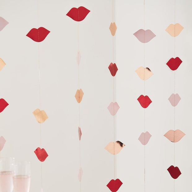 Rose Gold & Red Foiled Lip Backdrop - Valentine's Decorations