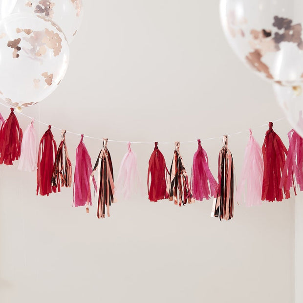 Rose Gold & Mixed Pink Tassel Bunting