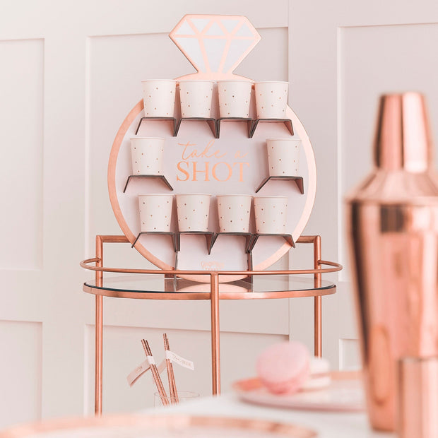 Rose Gold Foiled & Blush Prosecco Wall - Drinks Wall Holder