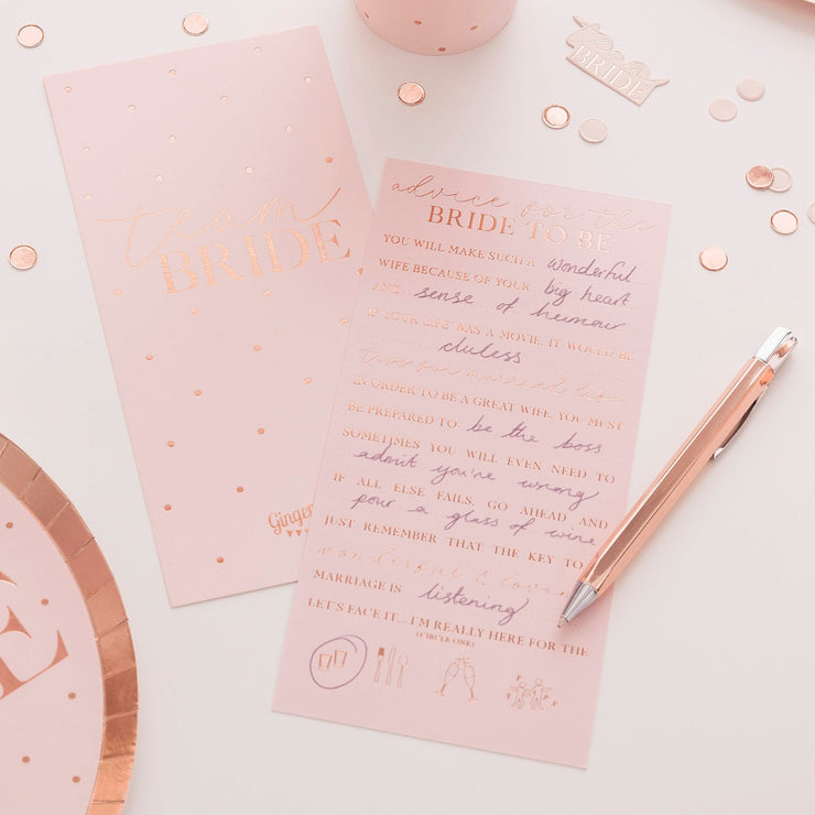 Rose Gold Foiled Hen Party Advice Cards - Hen Party Games