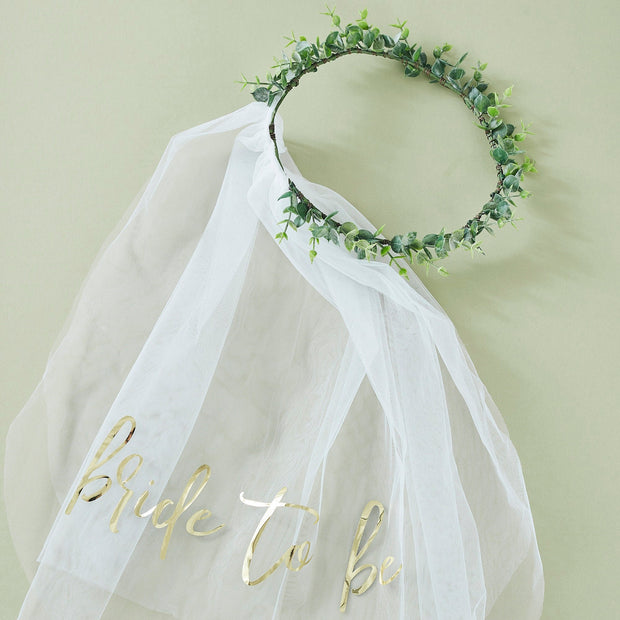 Eucalyptus Bride To Be Hen Party Veil - Bride to Be Hen Accessories