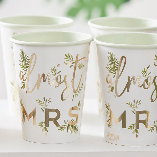 Gold Foiled Almost Mrs Paper Hen Party Cups  - Botanical Hen Party