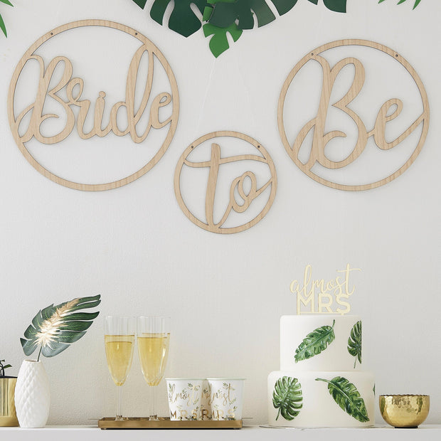 Wooden Bride To Be Decoration Hoops - Wooden Wedding Signs