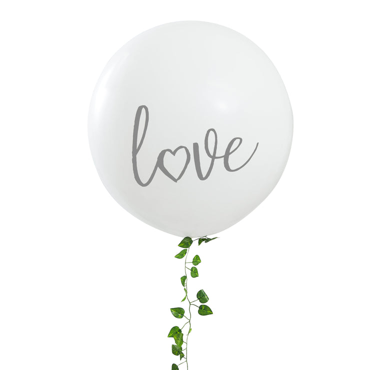 White Giant Printed Love Balloon - Giant Wedding Balloons - Wedding Decorations