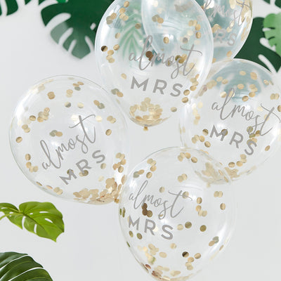 Almost Mrs Gold Confetti Hen Party Balloons