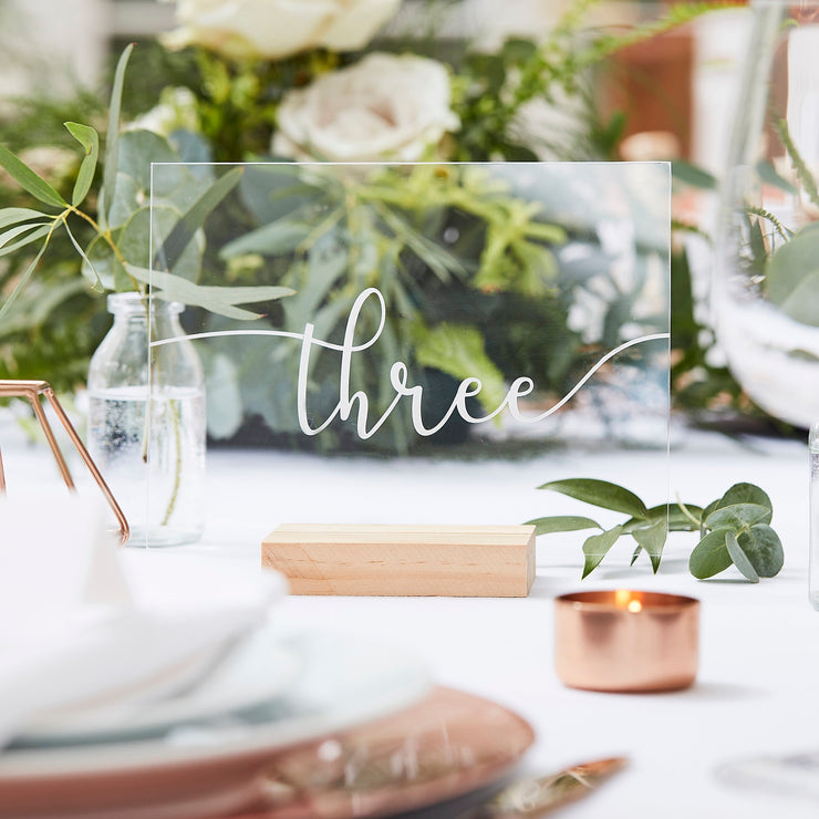 Acrylic Table Numbers 1 - 12 - Wedding Table Numbers - Wedding Table Number Stands