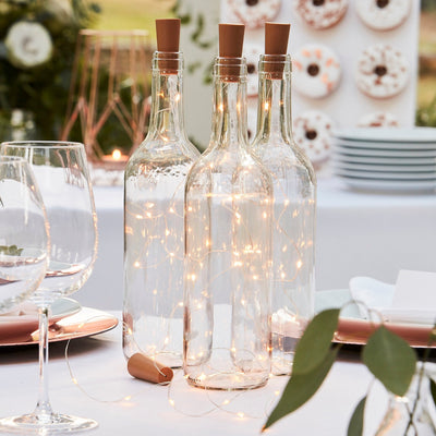 Glass Bottle LED Table Cork Lights - Rose Gold Fairy Lights