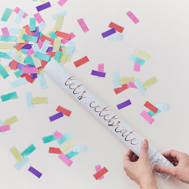 Large Rainbow Biodegradeable Confetti Cannon - Rainbow Confetti Cannon