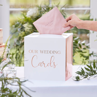 Rose Gold Wedding Post Box - Wedding Cards Box