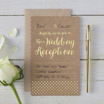 Kraft & Gold 'Evening Invitations' (Pack of 10)