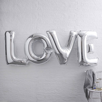 Silver Giant 'Love' Foiled 40 Inch Balloon
