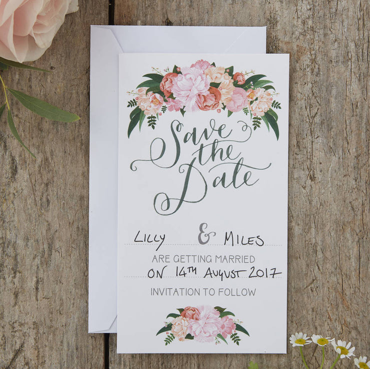 Hand Illustrated Boho Floral Save the Dates