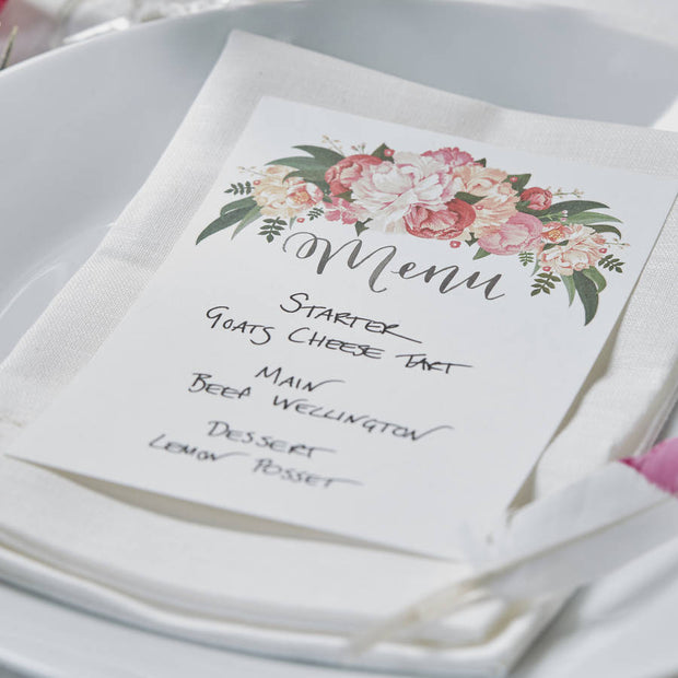 Hand Illustrated Boho Floral Menu Cards