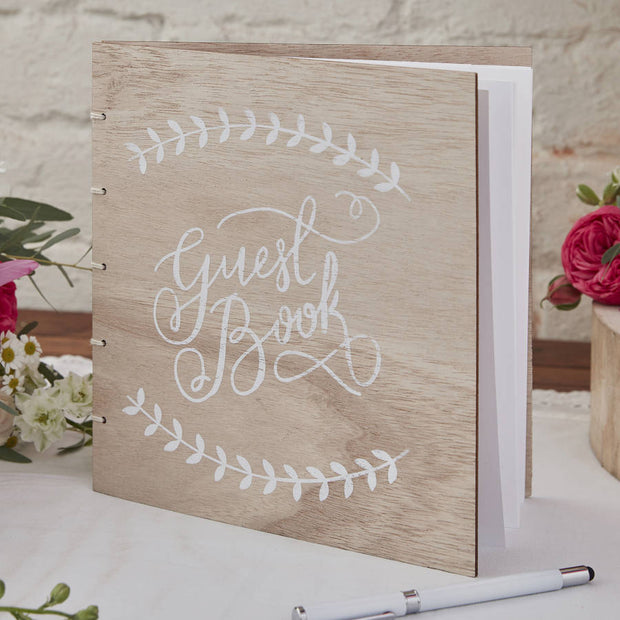 Vintage Style Wooden Guest Book