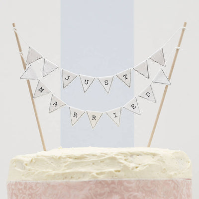 'Just Married' White or Ivory Bunting Cake Topper
