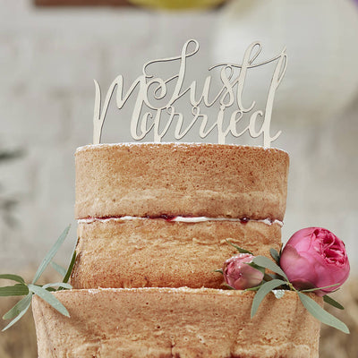 Just Married' Wooden Cake Topper