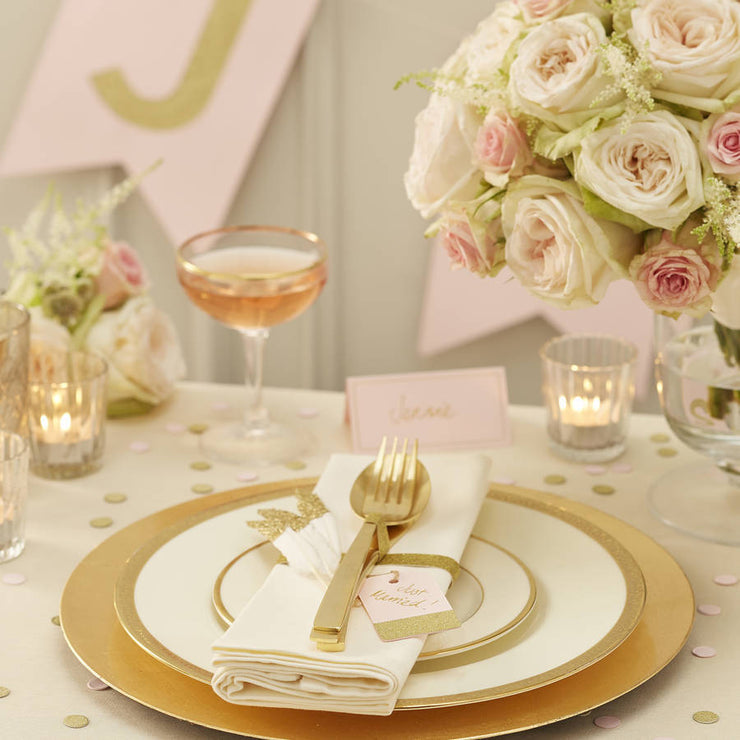 Pastel Pink And Gold 'Hooray' Wedding Flags