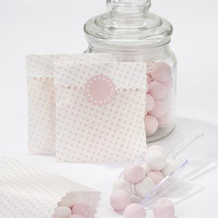 Vintage Style Mini Pink Treat Bags (Pack of 10)