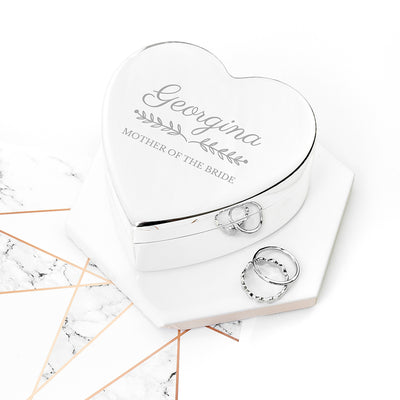 Personalised Mother of the Bride / Groom Heart Jewellery Box