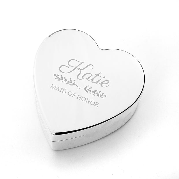 Personalised Bridesmaid Heart Jewellery Box