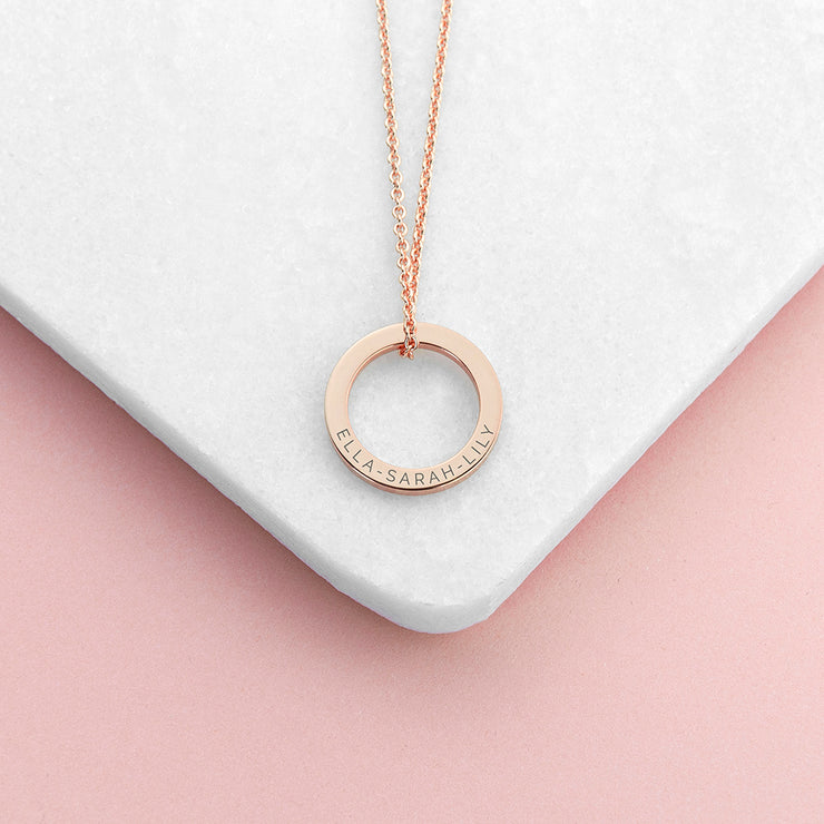 Personalised Rose Gold Ring Name Necklace