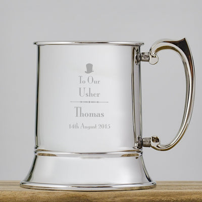 Decorative Usher Stainless Steel Tankard