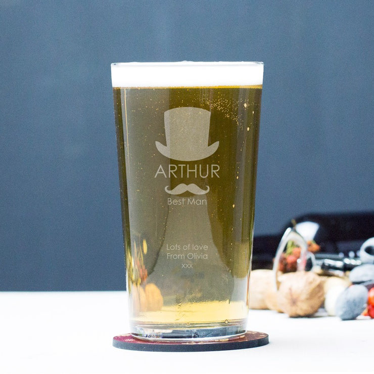 Personalised Top Hat with Moustache Pint Glass