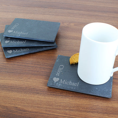 Personalised Heart Motif Slate Coasters (Pack of 4)