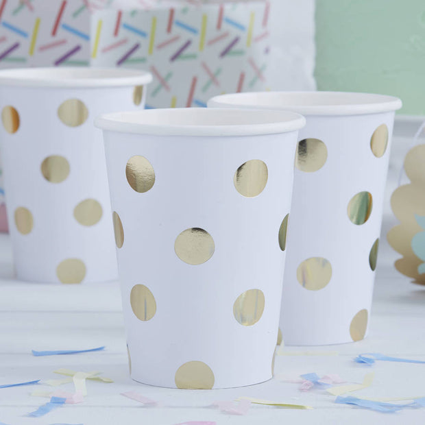 Gold Foil Polka Dot Paper Cups