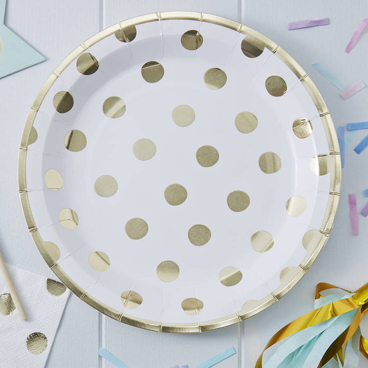 Gold Foiled Polka Dots Paper Plates