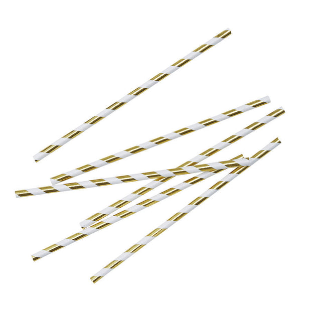 Gold Striped Foiled Paper Straws