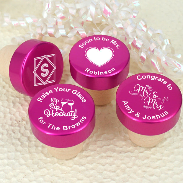 Personalised Pink Aluminium Top Bottle Stopper