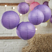 Purple Paper Wedding Lanterns (Pack of 5)