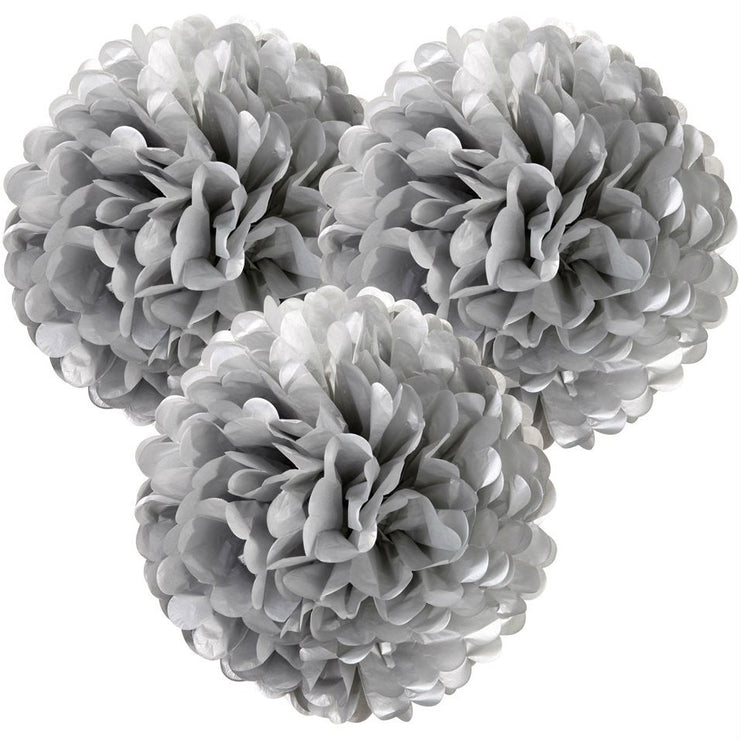 Silver Pom Poms Decoration Kit - Pack of 3