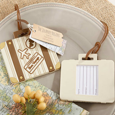 """Let the Journey Begin"" Vintage Suitcase Luggage Tag"