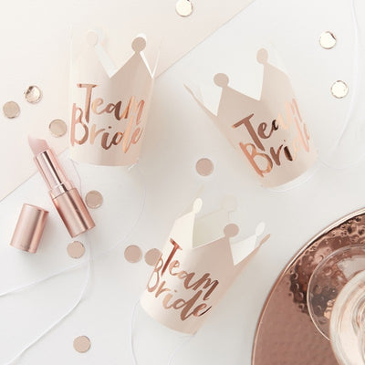 Pink and Rose Gold 'Team Bride' Mini Crowns (Pack of 5)