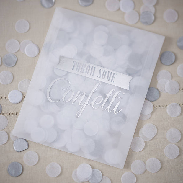 Silver & White Confetti Filled Envelope