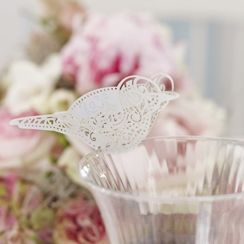 Vintage Lace Love Bird Place Cards - White (set of 10)