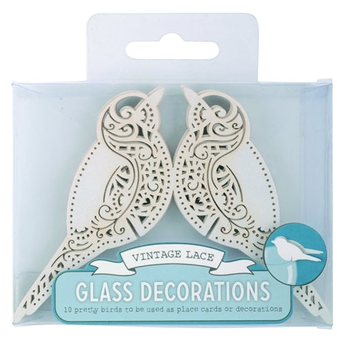 Vintage Lace Love Bird Place Cards - Ivory (set of 10)