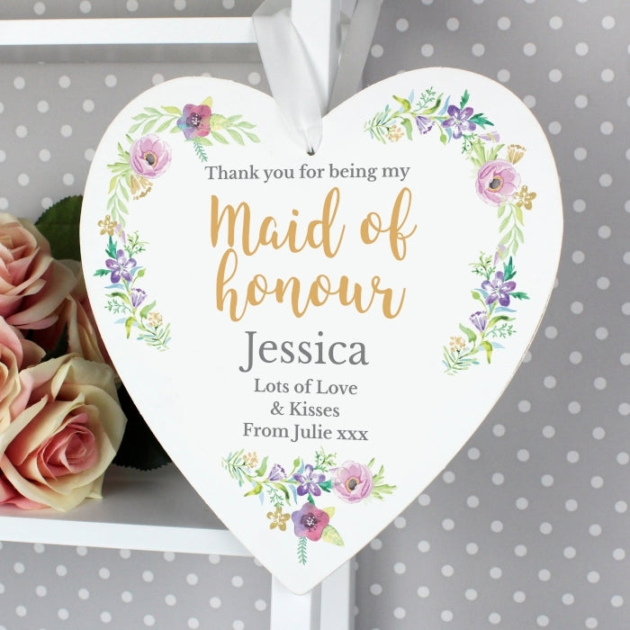 Personalised Floral Watercolour Maid of Honour Wooden Heart Decoration