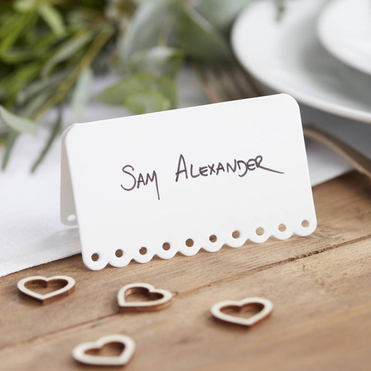 Scalloped White Place Cards - Pack of 10