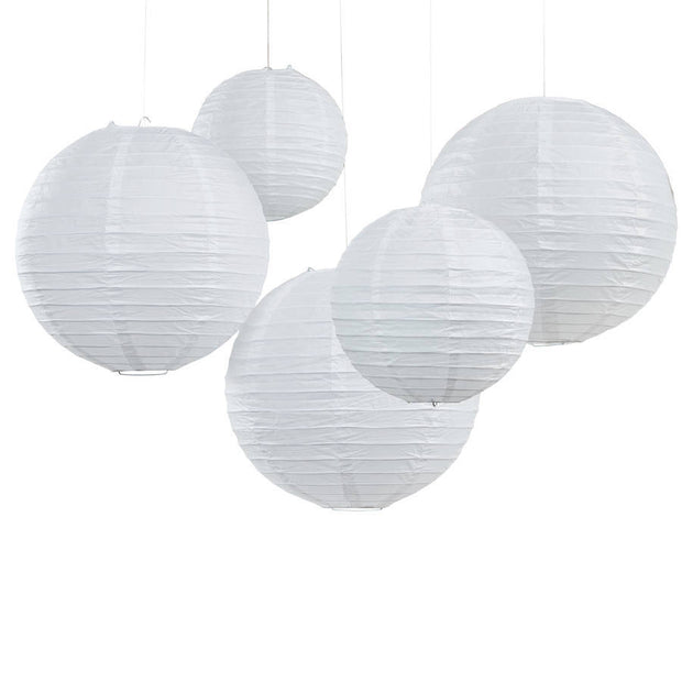 White Paper Wedding Lanterns (Pack of 5)